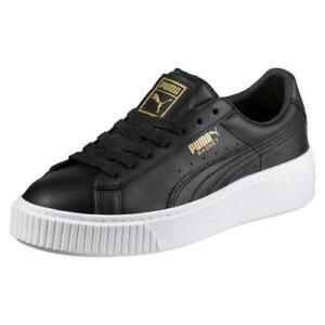 40e4b7beca7c80 Details about Puma Basket Platform Womens Ladies Black White Gold Trainers  Shoes Size 4-8