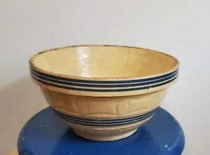 Vintage-Large-Yellow-Ware-Mixing-Bowl-Blue-Stripes-Farmhouse-Kitchen-Unmarked