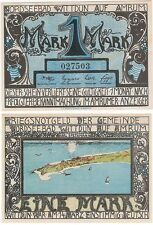 Germany 1 Mark 1920 Notgeld Nordseebad Wittdun UNC Banknote