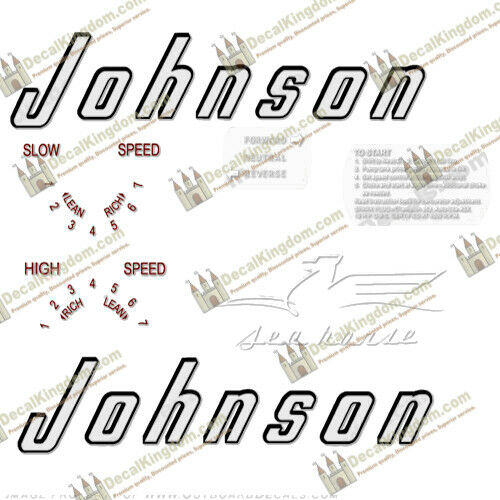 Johnson 1956 Vintage Outboard Engine Decales (multiple Styles) 3M Marine Grade