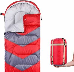 Red-Down-Sleeping-Bag-20-Degree-Lightweight-Waterproof-With-Compression-Sack-US