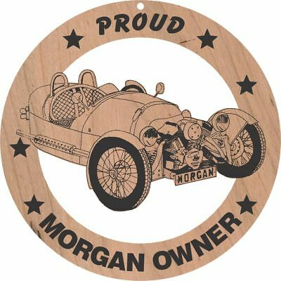 Morgan 3 Wheeler Wood Ornament Engraved