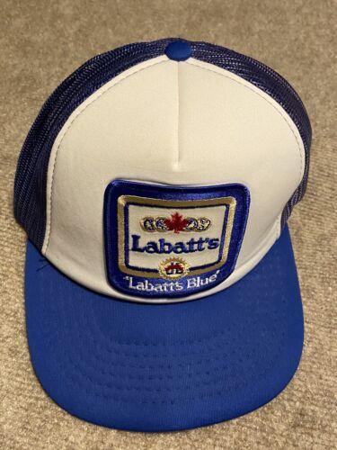 2 Lot Vintage 1970/'s Labatt's Blue Beer Hipster Jacket Trucker Hat Patches 736R