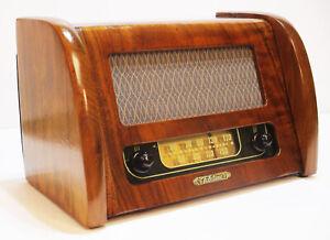 Old-Antique-Wood-Tele-Tone-Vintage-Tube-Radio-Restored-amp-Working-Deco-Table-Top