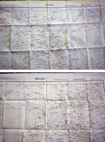 Iran Scheda da aviatore SILK Map di Kerman e Birjand 1:1 .000 .000