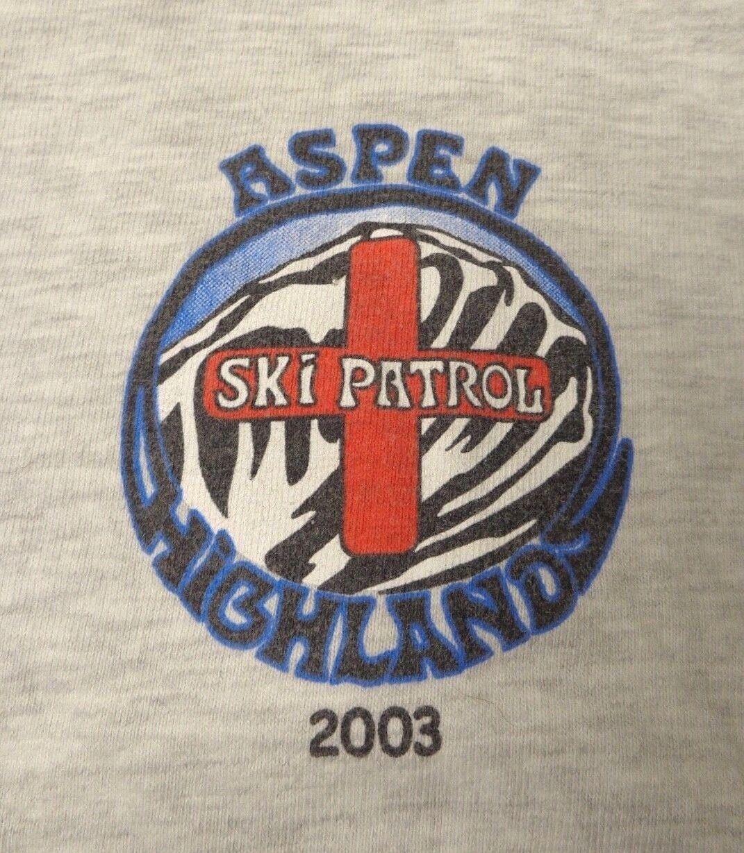 ASPEN HIGHLANDS SKI PATROL 2003 HIGHLAND BOWL grau SHORT SLEEVE T SHIRT EUC SZ M
