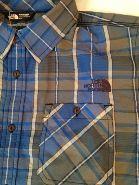 The North Face Men Delcosta Shirt Short-Sleeve QuickDry Limoges Blue Plaid Large