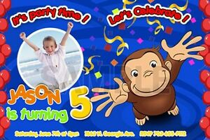 Sensational Curious George 1St Birthday Party Invitation C3 Cards Personalised Birthday Cards Veneteletsinfo