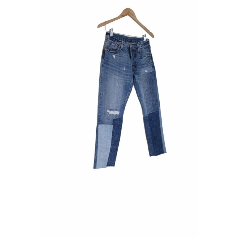 Levis Anthropologie Womens 501 Cropped Jeans Patc… - image 1