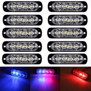 10x-LED-Car-Truck-vehicle-Strobe-Flash-Light-Emergency-Warning-Flashing-Red-Blue