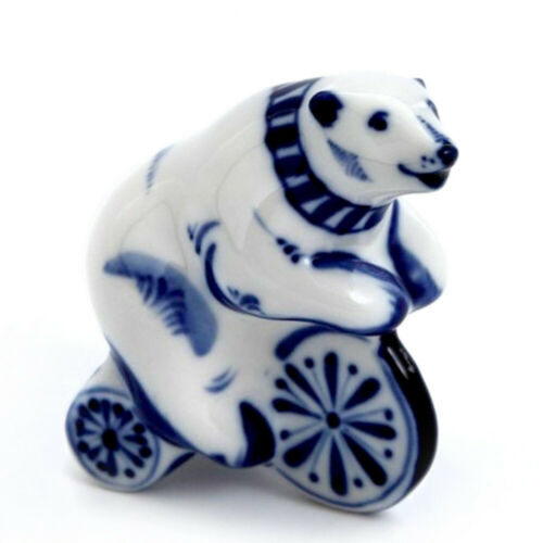 Bear on a Bicycle Porcelain Figurine Russian Gzhel Ceramic Statuette Гжель