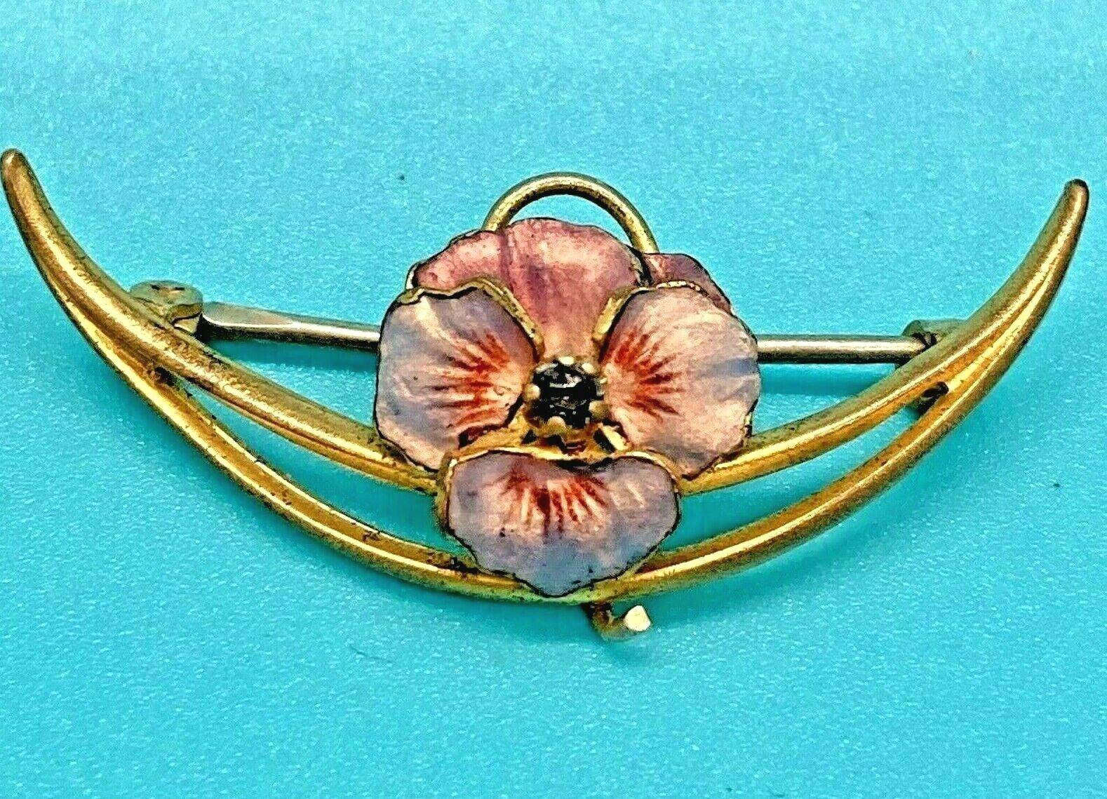 Art Nouveau Enameled Pansy Brooch - image 1