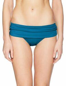 La Blanca Women Swimwear Teal Blue Size 12 Shirred Hipster Bikini Bottom $57 647