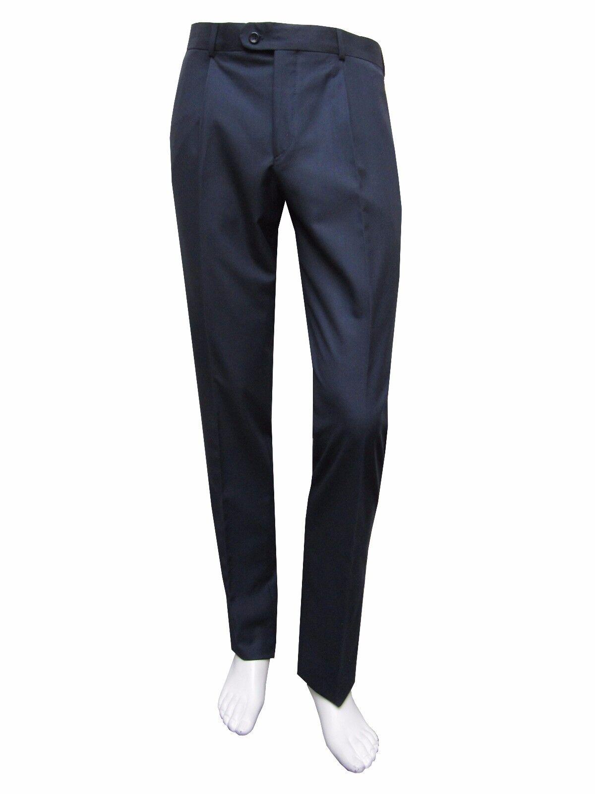 Classico Uomo pieghe Pantaloni Tg. 27 BLU SCURO