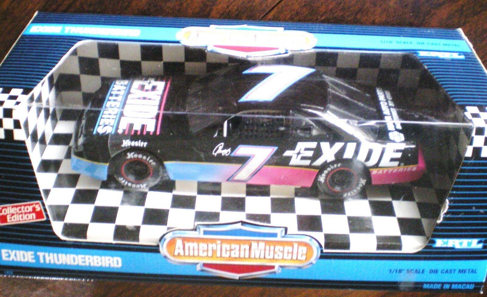 New 1995 Ertl American Muscle 1:18 NASCAR Geoff Bodine Exide Ford Thunderbird #7