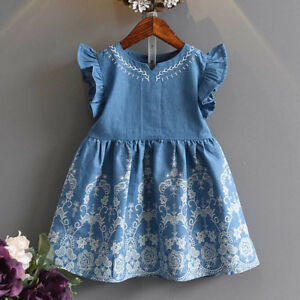 Children Kids Baby Girls Clothes Floral Lace Denim Party Pageant Princess Dress