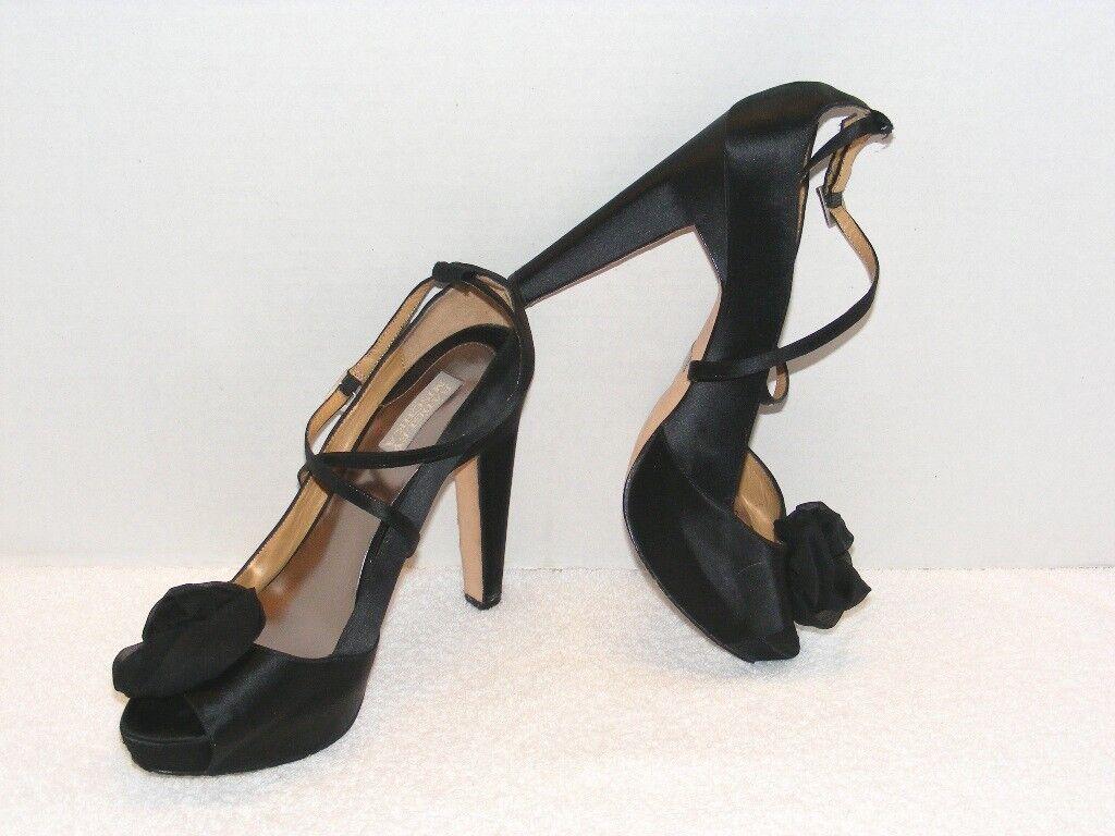 BADGLEY MISCHKA WOMEN'S BLACK SATIN HIGH HEEL PEEP TOED DRESS Schuhe 10 M GUC