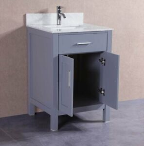 24 Inch Gray Bathroom Vanity Set With Marble Top And Ceramic Sink With Storage 709257085197 Ebay
