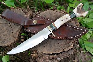 ANTIQUE CUSTOM HANDMADE D2 STEEL HUNTING TACTICAL DAGGER KNIFE BRASS STAG GRIP