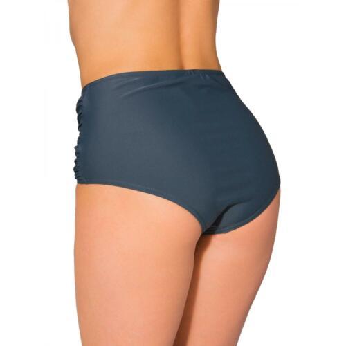 Aquarti Damen Bikinihose mit Hoher Taille und Raffung