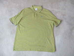 Lacoste-Polo-Shirt-Adult-Extra-Large-Size-8-Yellow-Gray-Striped-Crocodile-Mens