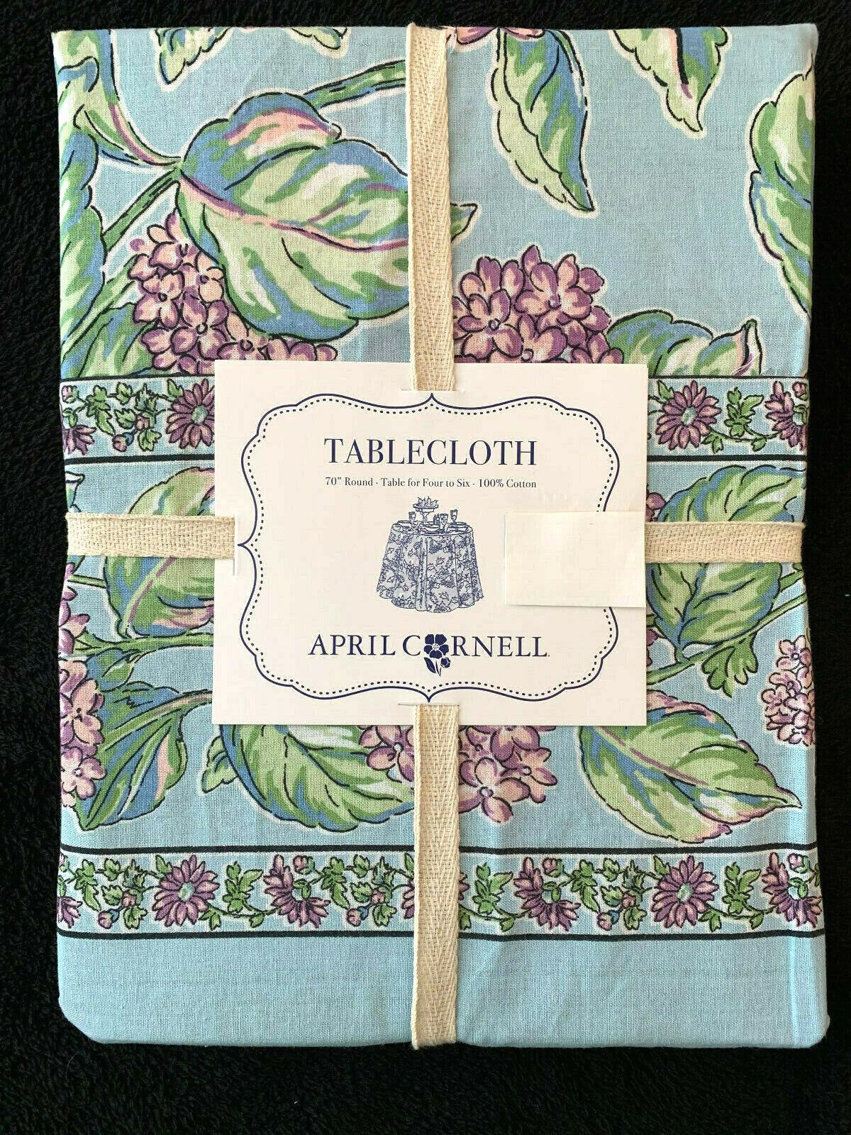 APRIL CORNELL - Blau LAVENDER Grün FLORAL PRINT - 70  ROUND TABLECLOTH - NEW