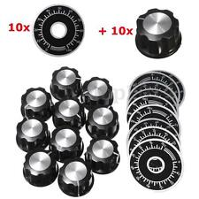 5set Black Rotary Potentiometer Knobs Caps with 5Pcs Counting Dial 0-100 Scale H