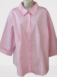 Jessica London Women's Blouse Plus 22/24 Pink 3/4 Sleeve Button Down Shirt