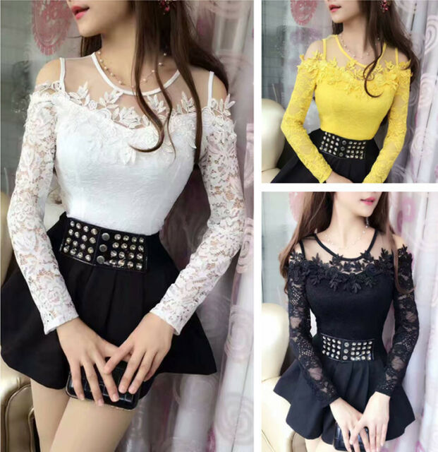 New Womens 3d Flower Hollow Shirts Casual Long Sleeve Sexy Lace Blouse Tops