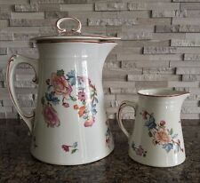 Steubenville China Pitcher Coffee Pot Teapot and Creamer Floral Blue Leaves