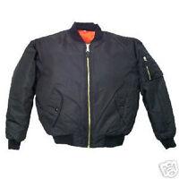 SWAT BLACK Men's MA-1 Military Style Bomber Flight Jacket Coat sz: LARGE – NEW