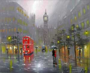 100-Hand-painted-Art-Oil-Painting-Landscape-London-City-canvas-16-20inch-Signed