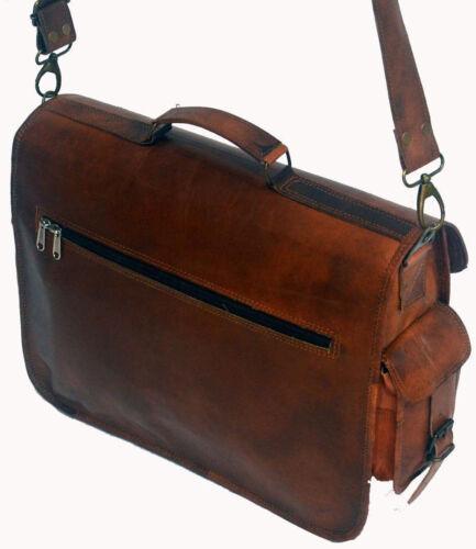 Bag Leather Goat Laptop Messenger Men Briefcase Shoulder Vintage Brown New Real