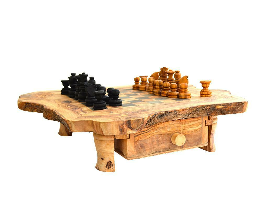 Schack på olivträ [17 tum 43 cm] bräde med ben och lådor för bitar