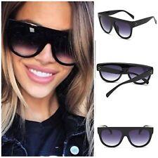 c0b5931b1e9 Black Oversized Shadow Sunglasses Flat Top Shield Women s Ladies High  Quality