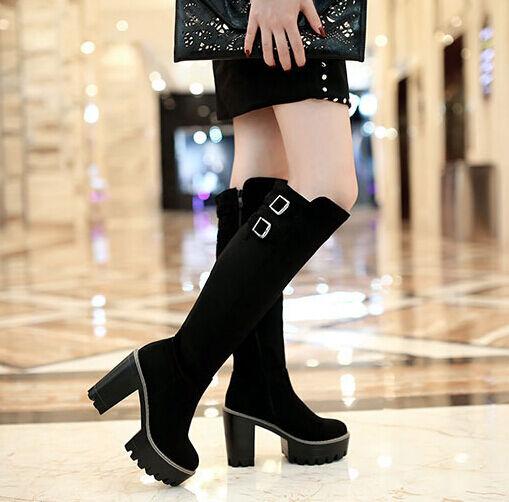 Bottes hautes hiver confortable femme talon plateau 14 cm noir comme cuir 8944