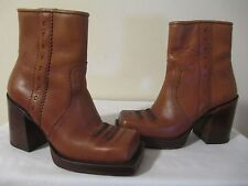 John FLUEVOG Women Brown Leather Fashion Square Toe Ankle Boots Size 8