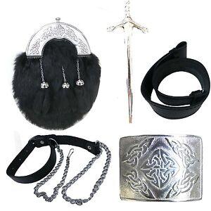 Brand New Rabbit Scottish Kilt Sporran/Pouch set/ Belt,Buckle,Pin,chain 5 Items