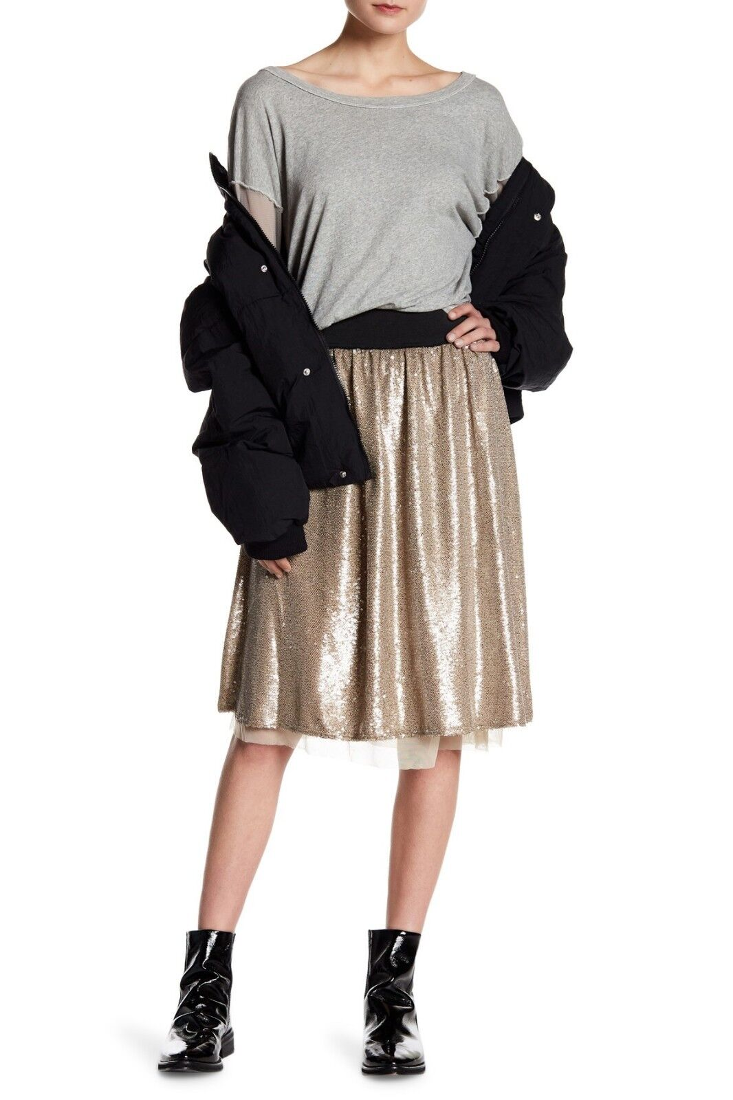 NWT Free People Flashing Lights Sequin Midi Skirt Taupe Metallic gold  Small S