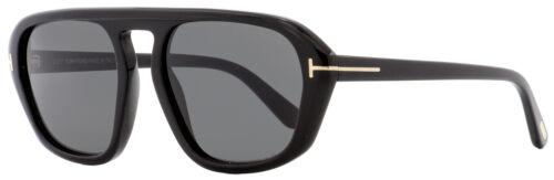 Tom Ford Rectangular Sunglasses TF634 David-02 01A Shiny Black 57mm FT0634