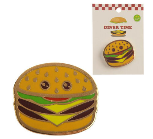 Cheeseburger Pin Badge Novelty Fashion Pins Cartoon Fun Brooch Metal Enamel Gift
