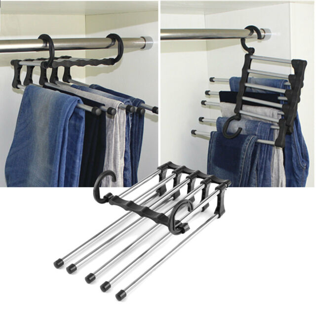 5In1 Adjustable Closet Hook Tie Belt Scarf Organizer Trousers Pants Rack  Hanger