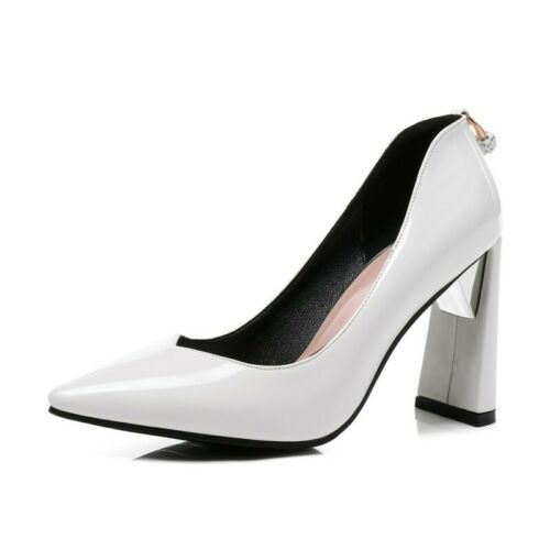 Details about  /Sexy Women Glitter Pointy Toe Block Heel Slip On Wedding Bridal Shoes 44//45//46 B