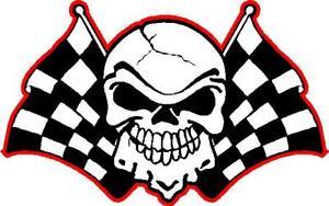 checkered flag skull racing vinyl window decal sticker ebay