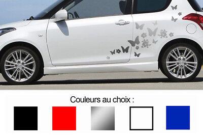 Automobilia 1 X Set De 18 Papillons Et Fleurs Hibiscus Autocollant Sticker Deco Auto Bd410 Fine Craftsmanship