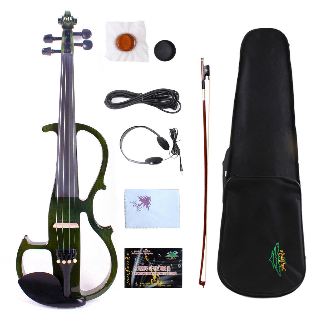 Yinfente 4 4 Electric Silent Violin Wooden Free Case Bow Cable  EV8