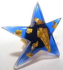 SoHo® Ring Diana Stern Blattgold Kunstharz blau retro resin blue gold