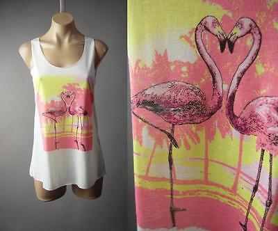 White Pink Flamingo Beach Bird Tropical Island Palm Tank Top 173 mv Shirt S M L