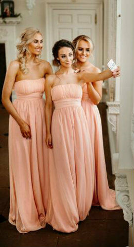 Womans Girls Peach Chiffon Bridesmaid Wedding Dresses Prom Evening Ballgown