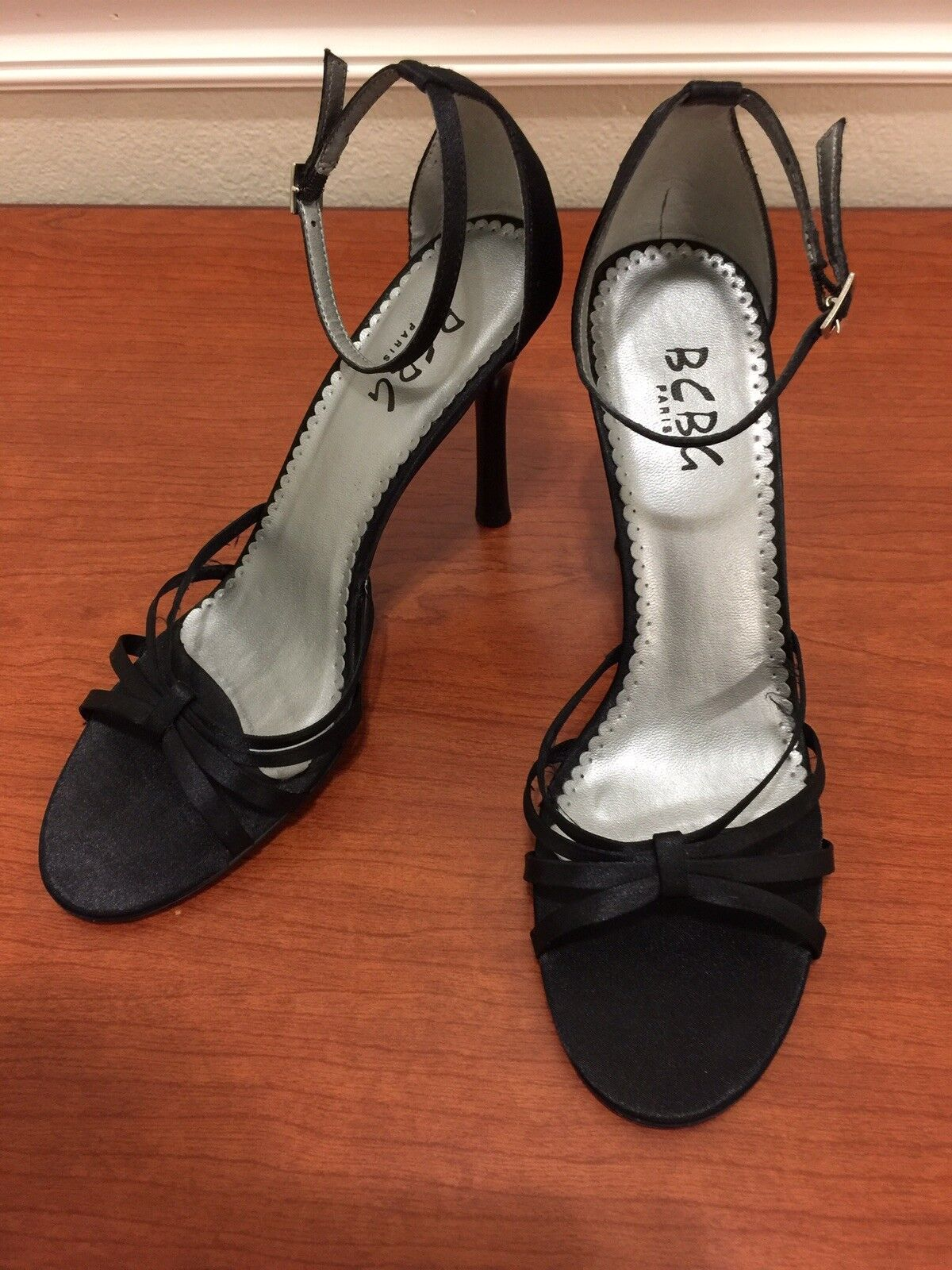 BCBG Paris Women's 7.5B Black Ankle Strap Heels